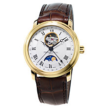 Buy Frédérique Constant FC-335MC4P5 Men's Moon-Phase Leather Strap Watch, Brown Online at johnlewis.com