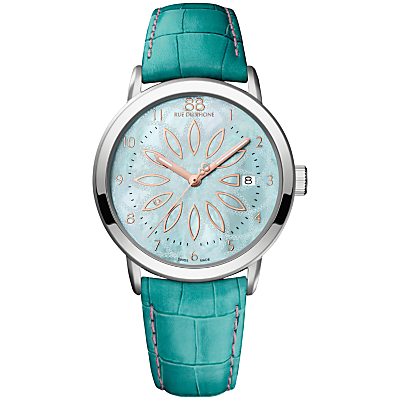 88 Rue Du Rhone 87WA140015 Women's Double 8 Origin Mother of Pearl Alligator Leather Strap Watch, Turquoise