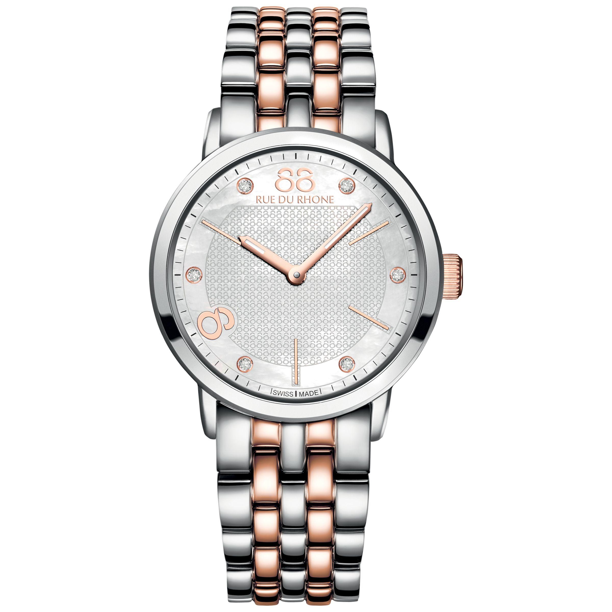 88 Rue Du Rhone 88 Rue Du Rhone 87WA140005 Women's Mother Of Pearl Stainless Steel Bracelet Strap Watch, Silver/Rose Gold