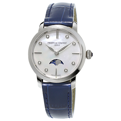 Frédérique Constant FC-206MPWD1S6 Women's Moon-Phase Leather Strap Watch, Blue/Mother of Pearl