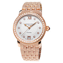 Buy Frédérique Constant FC-303WHF2PD4B3 Women's Diamond And Rose Gold Plated Bracelet Watch Online at johnlewis.com