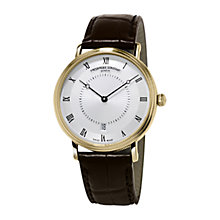 Buy Frédérique Constant FC-306MC4S35 Men's Slimline Leather Strap Watch, Brown Online at johnlewis.com