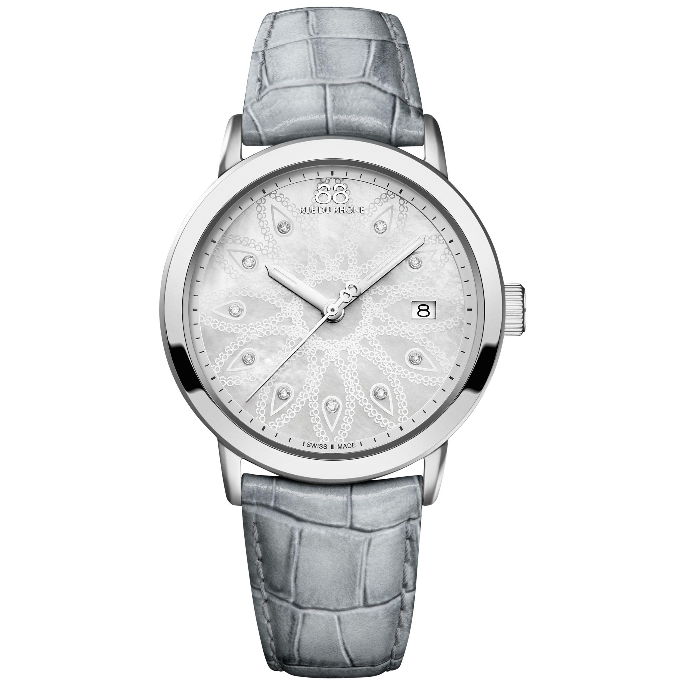 88 Rue Du Rhone 88 Rue Du Rhone 87WA140018 Women's Double 8 Origin Mother of Pearl Leather Strap Watch, Grey/Silver
