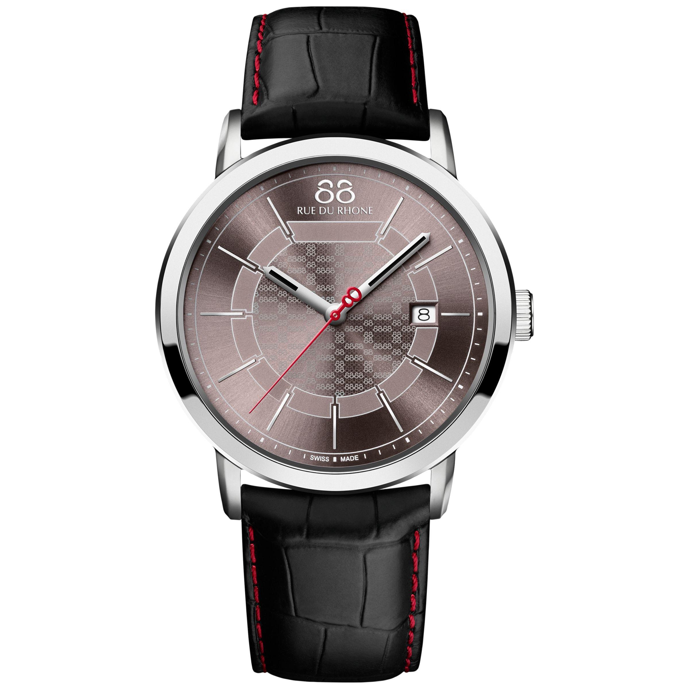 88 Rue Du Rhone 88 Rue Du Rhone 87WA140026 Men's Double 8 Origin Leather Strap Watch, Black/Taupe