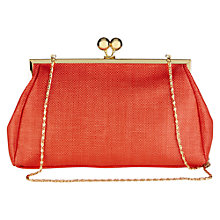 Buy Oasis Glitter Frame Clutch Bag, Coral Online at johnlewis.com