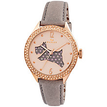 Buy Radley RY2206 Women's Marsupial Leather Strap Watch, Grey/Rose Gold Online at johnlewis.com