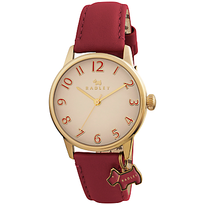 Radley RY2250 Women's Leather Strap Charm Watch, Red/Cream