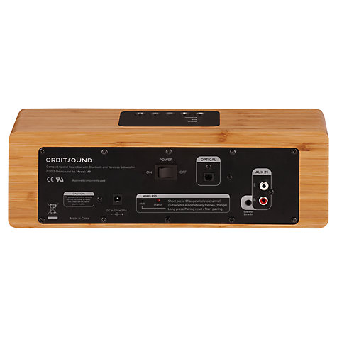 Buy Orbitsound M9 Bluetooth Sound Bar with Wireless Subwoofer, Bamboo Online at johnlewis.com