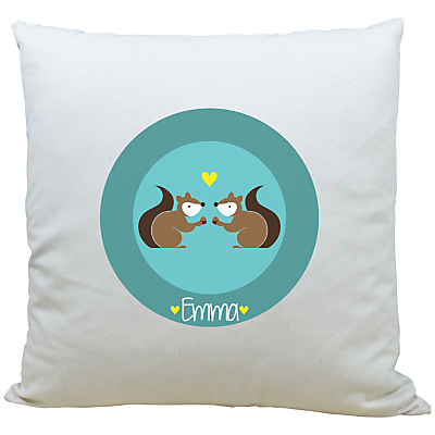 Image of A Piece Of Personalised Squirrel Cushion, Aqua