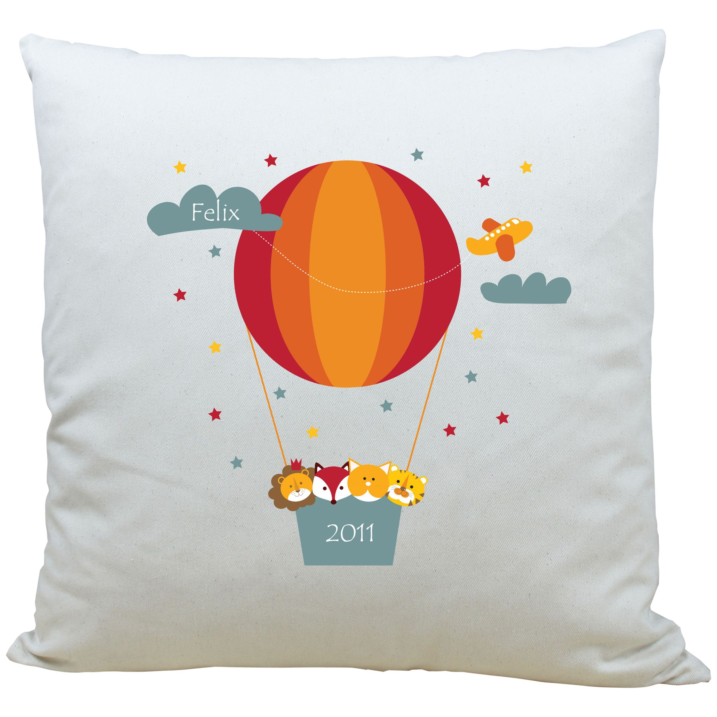 A Piece Of A Piece Of Personalised Animal Air Balloon Cushion