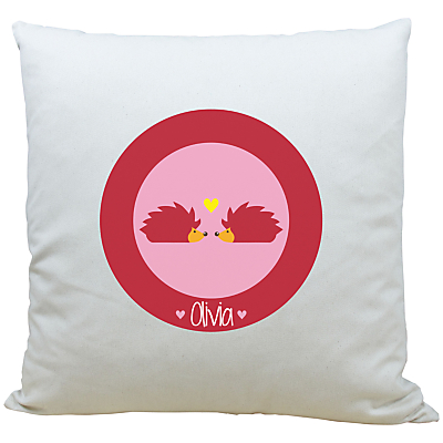 Image of A Piece Of Personalised Hedgehog Cushion, Pink