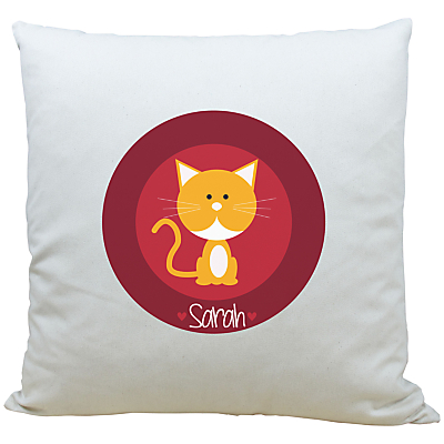 Image of A Piece Of Personalised Cat Cushion, Red