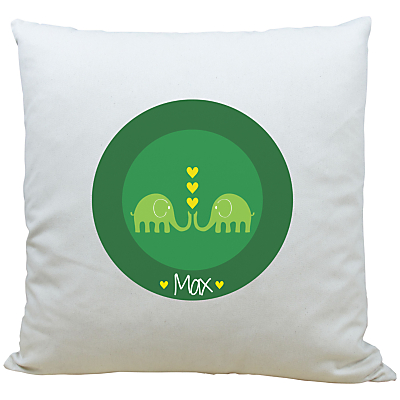 A Piece Of Personalised Elephant Cushion, Dark Green