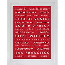 Buy Betsy Benn Personalised Destination Framed Print, Bright Red, 48.7 x 37.7cm Online at johnlewis.com