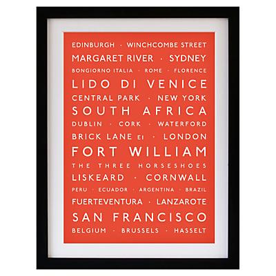 Betsy Benn Personalised Destination Framed Print, Black Frame, 48.7 x 37.7cm