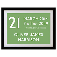 Buy Betsy Benn Personalised New Baby Destination Framed Print, Black Frame,  37.7 x 48.7cm Online at johnlewis.com