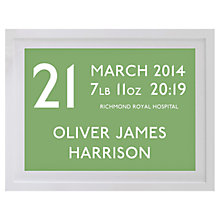 Buy Betsy Benn Personalised New Baby Destination Framed Print, Apple, 37.7 x 48.7cm Online at johnlewis.com