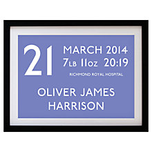 Buy Betsy Benn Personalised New Baby Destination Framed Print, Blueberry, 37.7 x 48.7cm Online at johnlewis.com