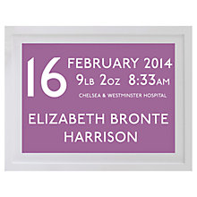 Buy Betsy Benn Personalised New Baby Destination Framed Print, Lilac, 37.7 x 48.7cm Online at johnlewis.com