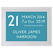 Buy Betsy Benn Personalised New Baby Destination Framed Print, Teal, 37.7 x 48.7cm Online at johnlewis.com