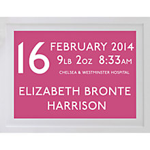 Buy Betsy Benn Personalised New Baby Destination Framed Print, Candy, 37.7 x 48.7cm Online at johnlewis.com