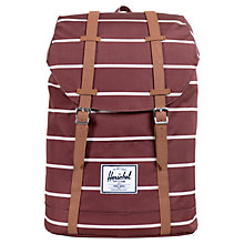 Buy Herschel Retreat Stripe Backpack, Burgundy Online at johnlewis.com