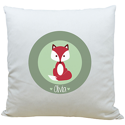Image of A Piece Of Personalised Fox Cushion, Light Green