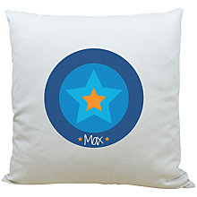 Buy A Piece Of Personalised Star Cushion, Blue Online at johnlewis.com