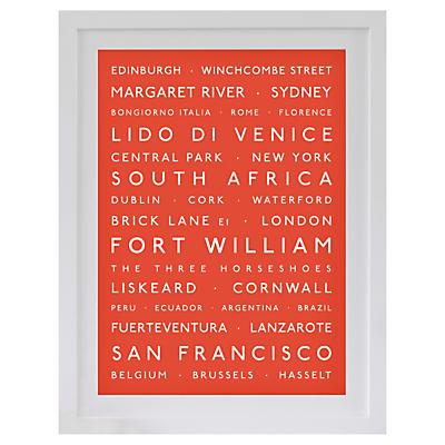 Betsy Benn Personalised Destination Framed Print, White Frame, 48.7 x 37.7cm