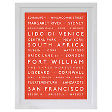 Buy Betsy Benn Personalised Destination Framed Print, Orange, 48.7 x 37.7cm Online at johnlewis.com