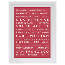 Buy Betsy Benn Personalised Destination Framed Print, Dusky Red, 48.7 x 37.7cm Online at johnlewis.com