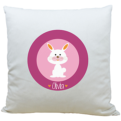 Image of A Piece Of Personalised Bunny Cushion, Pink