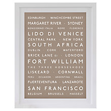 Buy Betsy Benn Personalised Destination Framed Print, Taupe, 48.7 x 37.7cm Online at johnlewis.com