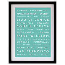 Buy Betsy Benn Personalised Destination Framed Print, Turquoise, 48.7 x 37.7cm Online at johnlewis.com