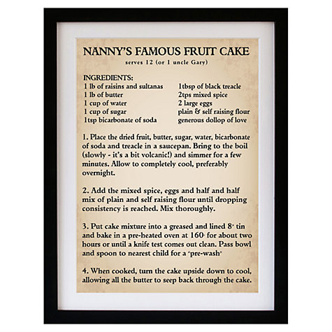 Buy Betsy Benn Personalised Recipe Parchment Framed Print, 48.7 x 37.7cm Online at johnlewis.com