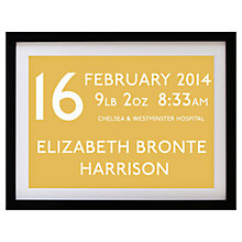 Buy Betsy Benn Personalised New Baby Destination Framed Print, Honey, 37.7 x 48.7cm Online at johnlewis.com