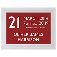 Buy Betsy Benn Personalised New Baby Destination Framed Print, Rouge, 37.7 x 48.7cm Online at johnlewis.com