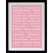 Buy Betsy Benn Personalised Destination Framed Print, Pink, 48.7 x 37.7cm Online at johnlewis.com