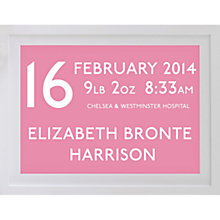 Buy Betsy Benn Personalised New Baby Destination Framed Print, Blossom, 37.7 x 48.7cm Online at johnlewis.com