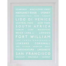 Buy Betsy Benn Personalised Destination Framed Print, Duck Egg, 48.7 x 37.7cm Online at johnlewis.com
