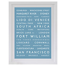 Buy Betsy Benn Personalised Destination Framed Print, Soft Blue, 48.7 x 37.7cm Online at johnlewis.com