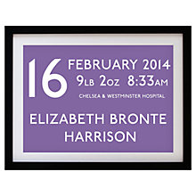 Buy Betsy Benn Personalised New Baby Destination Framed Print, Heather, 37.7 x 48.7cm Online at johnlewis.com