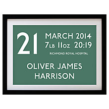 Buy Betsy Benn Personalised New Baby Destination Framed Print, Olive, 37.7 x 48.7cm Online at johnlewis.com