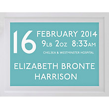 Buy Betsy Benn Personalised New Baby Destination Framed Print, Turquoise, 37.7 x 48.7cm Online at johnlewis.com