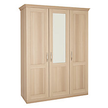 Buy John Lewis Mix it Woburn Brushed D Handle Triple Wardrobe with Central Mirror, Oak Online at johnlewis.com