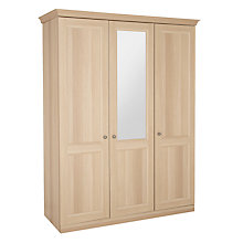 Buy John Lewis Mix it Hartland Round Handle Triple Wardrobe with Central Mirror, Oak Online at johnlewis.com