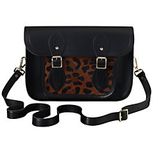 "Buy The Cambridge Satchel Company 11"" Haircalf Pocket Leather Satchel Bag, Black/Leopard Online at johnlewis.com"