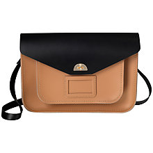 Buy The Cambridge Satchel Company Large Twist Lock Leather Satchel Bag, Black/Biscuit Online at johnlewis.com