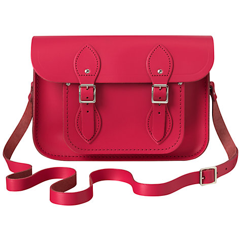"Buy The Cambridge Satchel Company The Classic 11"" Leather Satchel Bag, Hot Pink Online at johnlewis.com"