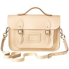 "Buy The Cambridge Satchel Company 13"" Top Handle Leather Satchel Bag, Cream Online at johnlewis.com"